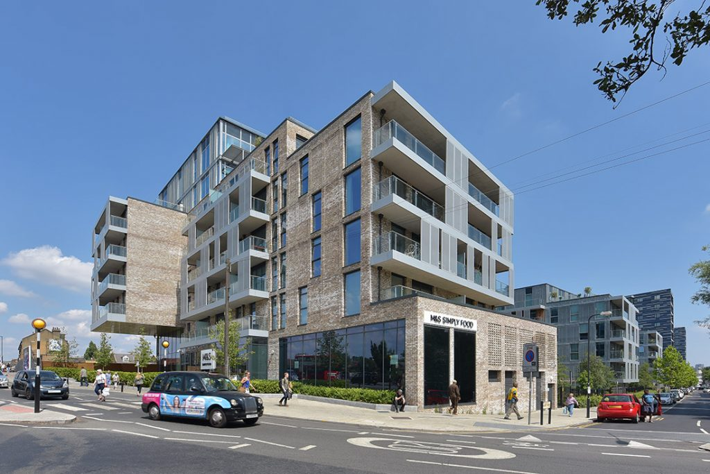 Architectural photography of retail and residential building in London, UK.
