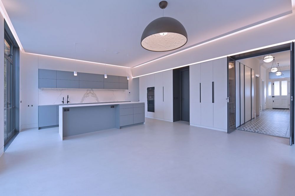 kitchen photography with concrete floor