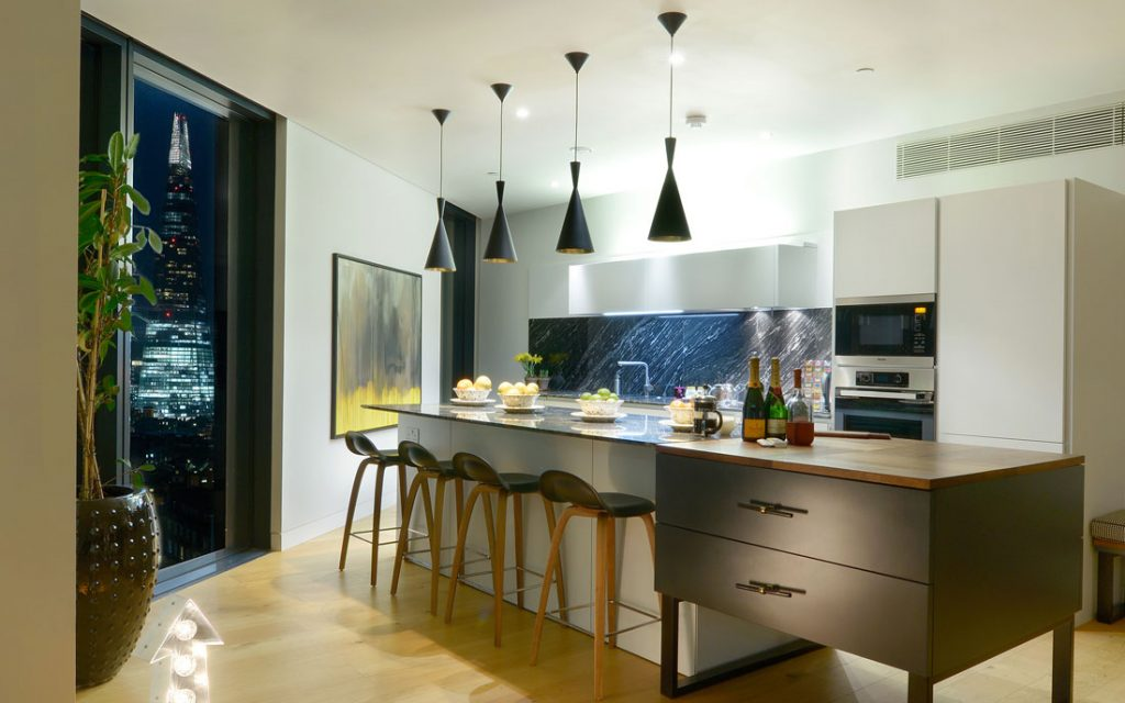 Lifestyle Interior Photography London UK. Photo of a Kitchen interior at night in London.
