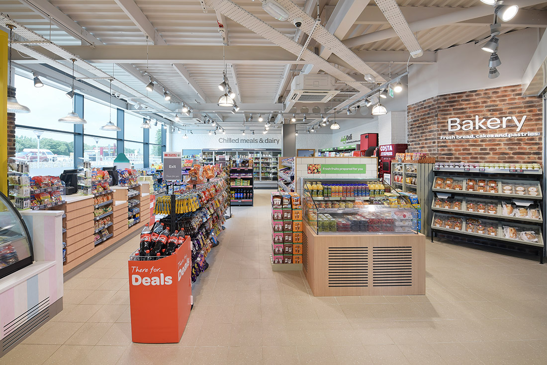Retail photography of Spar UK store showing the recent store upgrade and design.