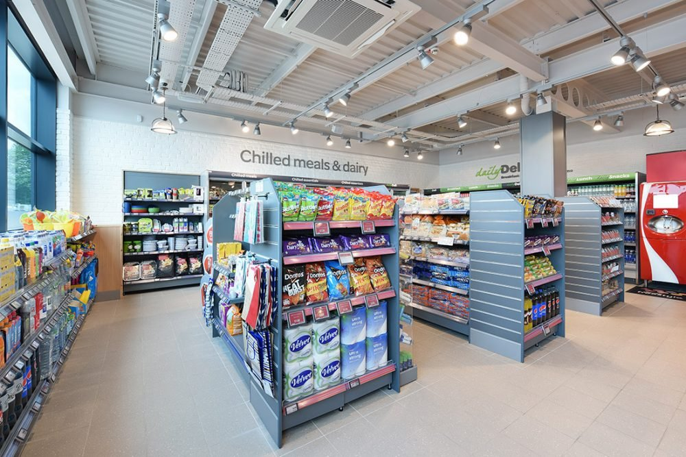 Retail photography of Supermarket Spar UK store showing the recent store upgrade and design.