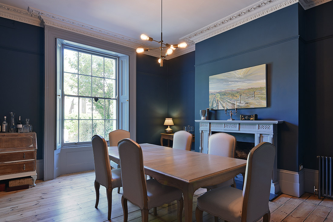 Interior photography of blue dining room